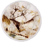 Lascaux Cows Horses And Deer Round Beach Towel