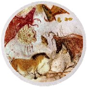 Lascaux Horse And Cows Round Beach Towel