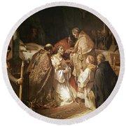 Last Communion Of St. Ferdinand. Madrid, Senate. Ferrant Alejandro. San Fernando -rey-. Round Beach Towel