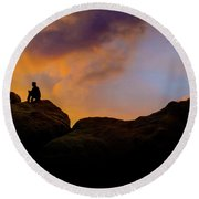 Last Light Round Beach Towel