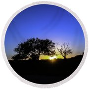 Last Light Texas Hill Country Paradise Canyon Sunset 8053a Round Beach Towel