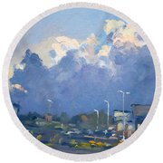 Last Sunlight For The Day Round Beach Towel