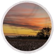 Late Fall In The Cotton Field Round Beach Towel