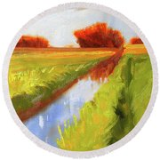Late Summer Round Beach Towel