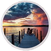 Late Summer Storm. Round Beach Towel