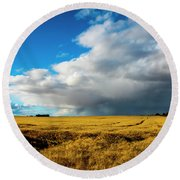 Late Summer Storm With Tornado Round Beach Towel