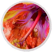 Round Beach Towel featuring the digital art Laughing Hibiscus by Cindy Greenstein