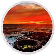 Lava Bath After Sunset Round Beach Towel