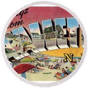 Lavallette Greetings Round Beach Towel