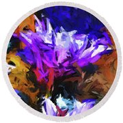 Lavender Flower And The Cobalt Blue Reflection Round Beach Towel