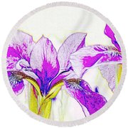 Lavender Irises Round Beach Towel