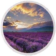 Lavender Sun Round Beach Towel