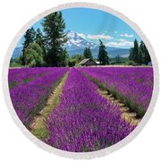 Round Beach Towel featuring the photograph Lavender Valley Farm by Robert Bellomy