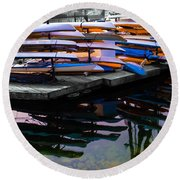 Layers And Layers By The Water Round Beach Towel