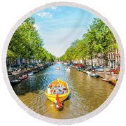 Lazy Sunday On The Canal Round Beach Towel