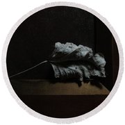 Round Beach Towel featuring the photograph Leaf And Frame by Attila Meszlenyi