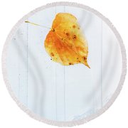 Leaf On White With Water Round Beach Towel
