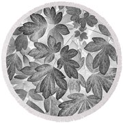 Round Beach Towel featuring the photograph Leaves Black And White Plant Pattern by Christina Rollo