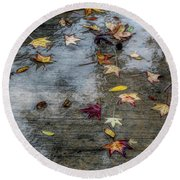 Leaves In The Rain Round Beach Towel