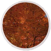 Leaves Of Fire Round Beach Towel