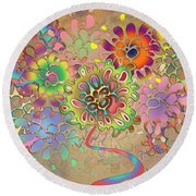 Round Beach Towel featuring the digital art Leaves by Vitaly Mishurovsky