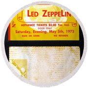 Led Zeppelin 1973 Concert Ticket Round Beach Towel