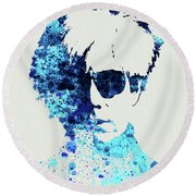 Legendary Andy Warhol Watercolor Round Beach Towel