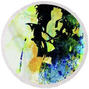 Legendary Ani Difranco Watercolor Round Beach Towel