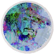 Legendary Clint Eastwood Watercolor Round Beach Towel