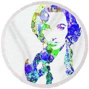 Legendary Elizabeth Taylor Watercolor Round Beach Towel