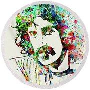 Legendary Frank Zappa Watercolor Round Beach Towel
