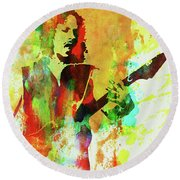Legendary Kirk Hammett Watercolor Round Beach Towel