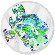 Legendary Louis Armstrong Watercolor  Round Beach Towel