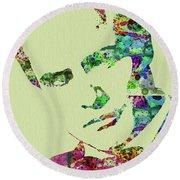 Legendary Marlon Brando Watercolor Round Beach Towel