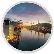 Leixoes Harbour Round Beach Towel