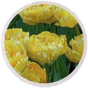 Lemony Yellow Tulips Round Beach Towel