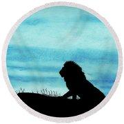 Leo At Sunset Round Beach Towel