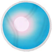 Round Beach Towel featuring the photograph Leo Blue Moon In Turquoise by Judy Kennedy