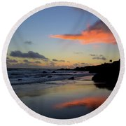 Leo Carrillo Sunset II Round Beach Towel