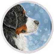 Round Beach Towel featuring the mixed media Let It Snow - Arctic Blue by Donna Mulley