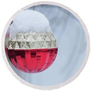 Round Beach Towel featuring the photograph Let It Snow On The Red Christmas Ball - Outside Winter Scene  by Cristina Stefan