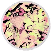 Letter Nests Round Beach Towel