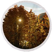 Round Beach Towel featuring the photograph Letting Go - Autumn Art by Jordan Blackstone
