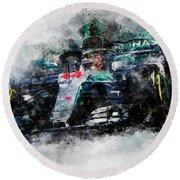 Lewis Hamilton, Mercedes Amg F1 W09 - 10 Round Beach Towel