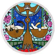 Libra Cat Zodiac Round Beach Towel