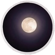Round Beach Towel featuring the photograph Libra Full Moon by Judy Kennedy