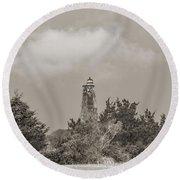 Light In The Distance Bald Head Island Lighthouse Round Beach Towel