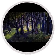 Light In The Forrest Round Beach Towel