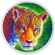 Light In The Rainforest - Jaguar Round Beach Towel
