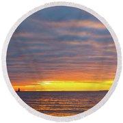 Light On The Horizon Round Beach Towel